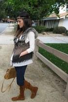 bronze Minnetonka boots - ivory Topshop sweater - camel Topshop purse - dark bro