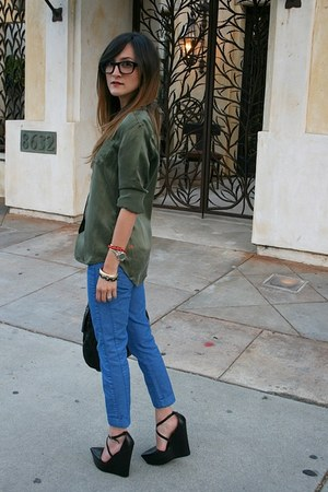 Stella McCartney jeans - YSL purse - Warby Parker glasses - TheySkens Theory wed
