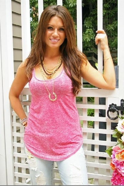 pink Chaser LA top - gold House of Harlow 1960 necklace - blue jeans