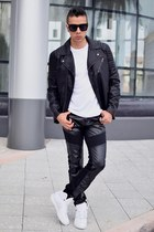 leather jacket H&M jacket - lanvin sunglasses - leather biker vintage pants