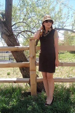 dark brown vintage dress - dark brown Steve Madden shoes - tawny Target hat