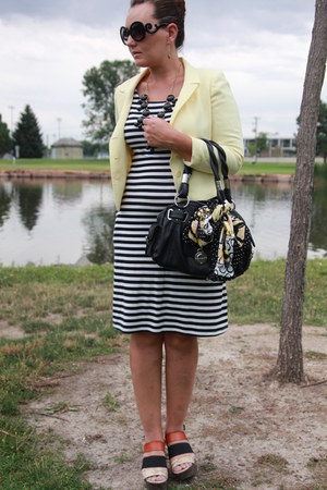 black striped Target dress - light yellow petite sophisticate blazer
