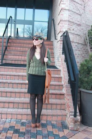 tawny Target hat - dark green thrifted sweater - nude tank kohls shirt