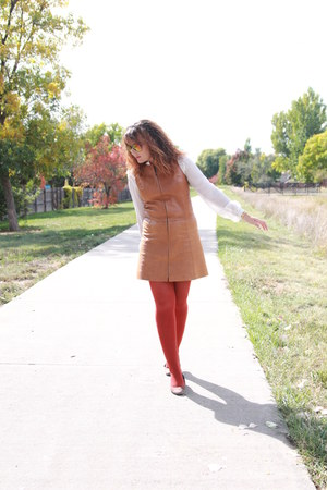 tawny leather vintage dress - white sheer thrifted shirt