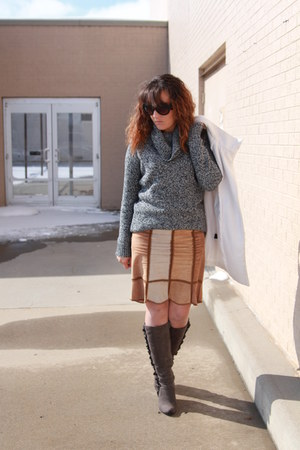 charcoal gray ruffled kohls boots - dark gray Forever 21 sweater