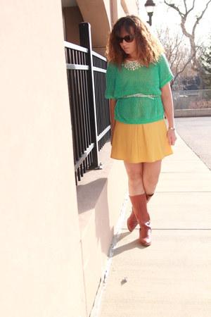 tawny vintage boots - mustard free people dress - aquamarine Target sweater