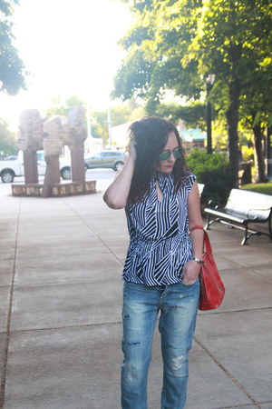 navy boyfriend H&M jeans - black striped peplum kohls shirt - red thrifted bag