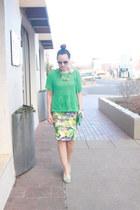 yellow J Lo skirt - aquamarine mesh Target sweater - light blue Nine West purse
