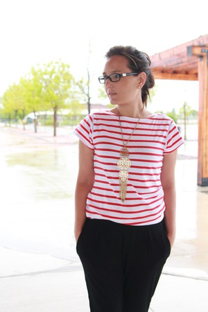 red striped Milly for Kohls dress - black joggers Nordstrom pants