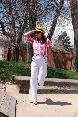 yellow cloche Target hat - red gingham thrifted shirt