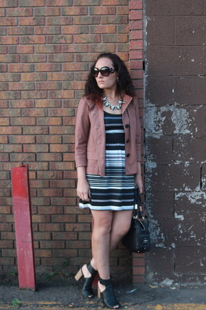 white striped thrifted dress - brick red plaid thrifted blazer - black Bebe bag