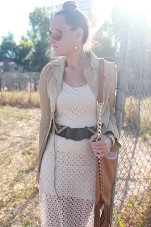 tawny fringe Marshalls bag - eggshell crocheted Forever 21 dress