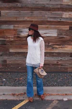 dark brown fedora vintage hat - navy Forever 21 jeans
