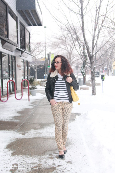 dark brown leather and fur thrifted jacket - tawny leopard print Walmart jeans