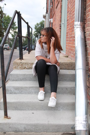beige Old Navy sweater - black pleather kohls leggings - white Keds sneakers