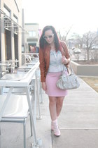 light pink Express skirt - tawny leather Target coat - white kohls shirt