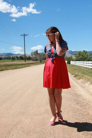 red Old Navy dress - navy chambray thrifted shirt