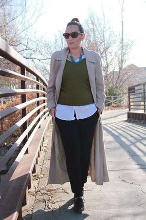 black glitter oxfords thrifted shoes - beige trench duster escada coat
