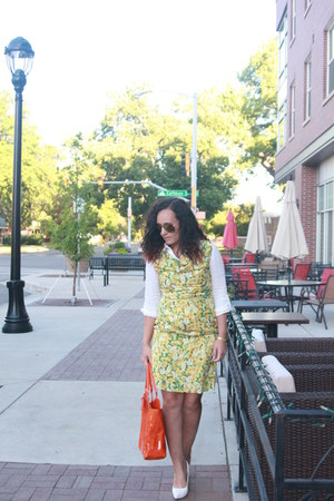white thrifted shirt - yellow pear print eShakti dress