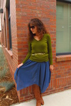 green Target sweater - tawny Charlotte Russe boots - navy vintage dress