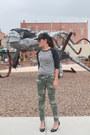 Army-green-camo-kohls-jeans-black-spiked-baseball-amazon-hat