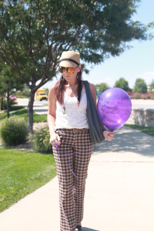 cream lace thrfited shirt - neutral Forever 21 hat - charcoal gray thrfited bag