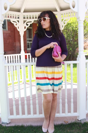 yellow striped Dillards dress - deep purple kohls sweater