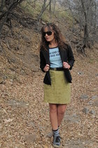 chartreuse Gap skirt - black A-List blazer - sky blue graphic tee thrifted shirt