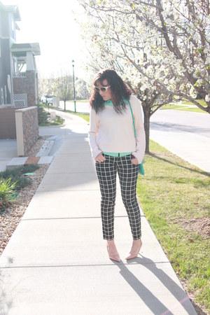 sky blue Nine West bag - light pink H&M sweater