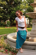 brown beaded thrifted belt - turquoise blue maxi kohls dress