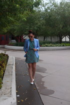 turquoise blue floral thrifted dress - aquamarine thrifted blazer