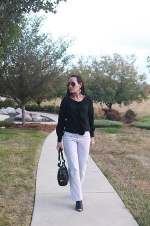 black kohls shirt - black Bebe purse - turquoise blue thrifted pants