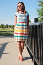 red striped gb dress - light blue band tee thrifted shirt