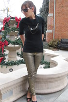 black elle sweater - gold gold coated Mango jeans - black peep toe Mossimo heels