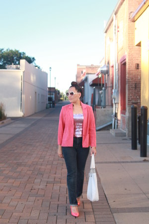 pink thrifted shirt - navy Old Navy jeans - hot pink thrifted blazer