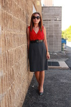 red two tone gifted dress - charcoal gray Alfani heels