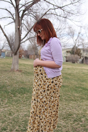 tawny leopard maxi thrifted dress - light purple thrifted cardigan