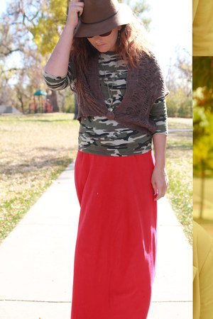 brown fedora Target hat - red maxi kohls dress - army green camo thrifted shirt
