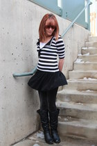 black Charlotte Russe boots - black glitter wal-mart leggings