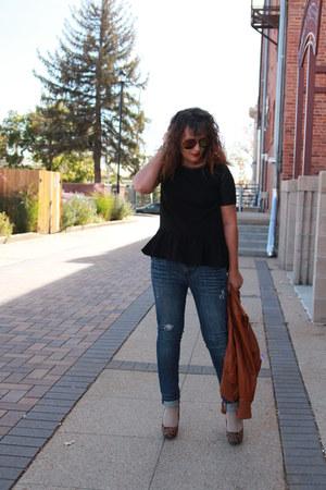 tawny leather Target jacket - navy distressed kohls jeans - black H&M shirt