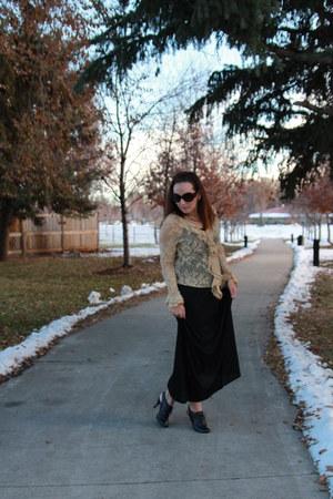 black maxi Walmart dress - black Nine West boots - beige lace thrifted shirt