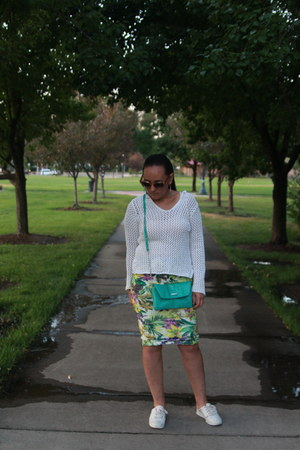 yellow floral pencil Jennifer Lopez skirt - white mesh thrifted sweater
