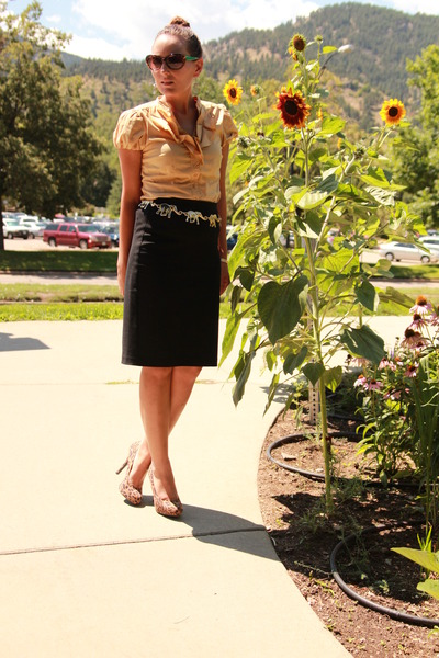 gold elephant vintage belt - mustard elle shirt - black pencil gifted skirt