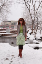 light brown kohls cardigan - tawny thrifted boots - chartreuse thrifted shirt
