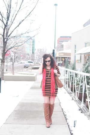 tawny otk Charlotte Russe boots - black striped thrifted dress