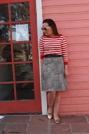 red striped Jones New York shirt - dark brown thrifted skirt - gold Target flats