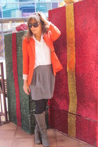 carrot orange tweed J Crew blazer - charcoal gray kohls boots