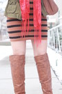 Tawny-otk-charlotte-russe-boots-black-striped-thrifted-dress