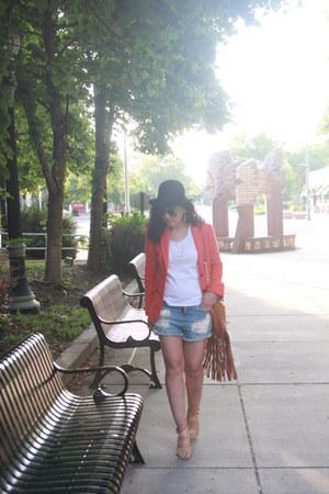 dark brown vintage hat - carrot orange J Crew blazer - white thrifted shirt