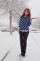 navy polka dot Old Navy sweater - black studded Forever 21 boots